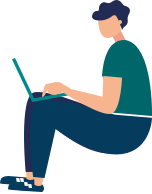 Illustration Male Sitting With Laptop
