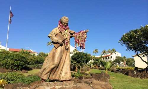 Father-Chaminade-Statue-with-Lei