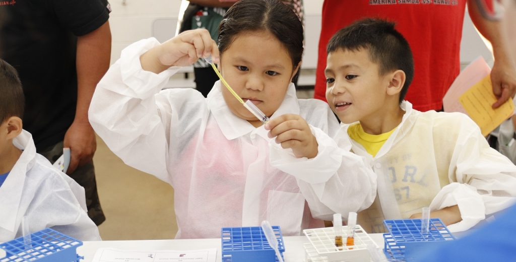 Children taking part in a science activity