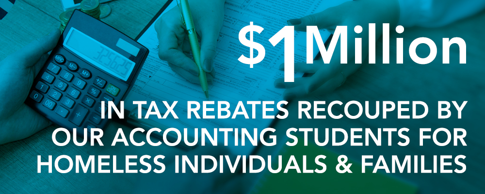 $1 million in tax rebates recouped by our accounting students for homeless individuals and families