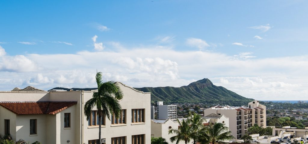 Chaminade buildings with Diamond Head in the background