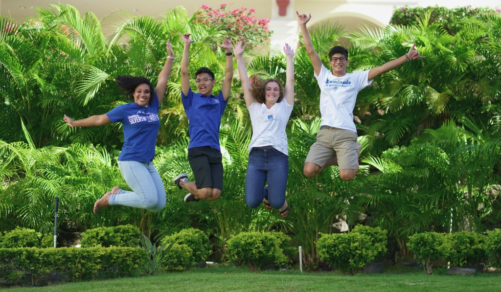 Students jumping in celebration