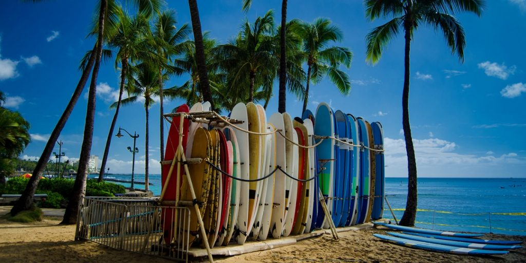 Surfboards on famous Waikiki beach, Honolulu, Hawaii.