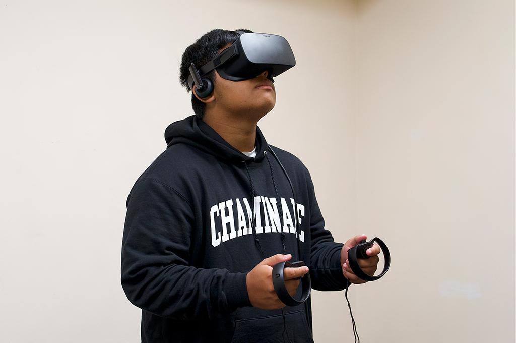 a student wearing virtual reality headset