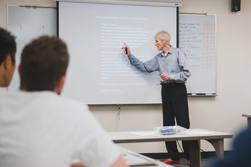 professor teaching in class