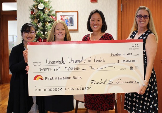 First Hawaiian Bank presenting check to Chaminade University