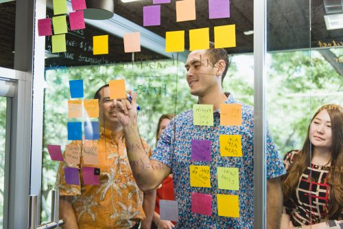 MBA students collaborating on a project