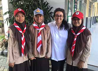 Alice Potter '18 with her students while in the Peace Corps
