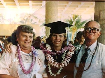 Kristing Stebbins '87 at her Chaminade graduation