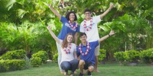 Students admitted to Chaminade University smiling group shot