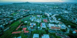 Aerial shot of Chaminade University of Honolulu with city and Diamond Head