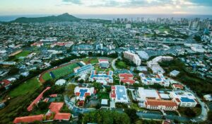 Aerial shot of Chaminade University campus with Honolulu and Diamond Head in background