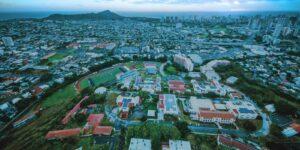 Chaminade University from the air looking Diamond Head and Honolulu Oahu Hawaii