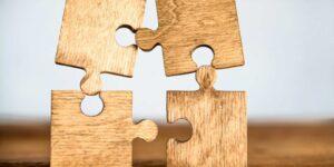 wooden puzzle pieces illustrating education behavioral sciences