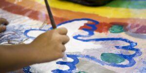 elementary art education student painting