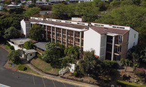 Aerial shot of three story student residence hall Hale Pohaku at Chaminade UniversityPo