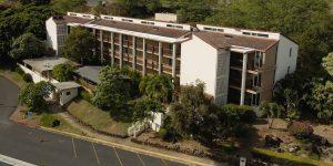 Aerial short of Hale Pohaku dormitory building at Chaminade University of Honolulu
