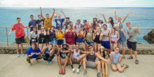 new chaminade students group shot near ocean