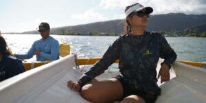 Lucy Lee '23, environmental studies major sailing on Hikianalia, looking outward