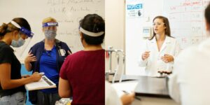Dr. Lorin Ramocki talking to Nursing students during a simulation and Dr. Kate Perrault teaching her Forensic Science students